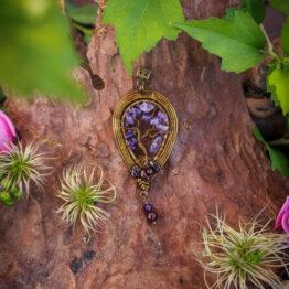 pendentif arbre de vie en améthyste