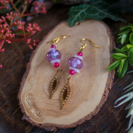 """Boucles """"feuillage"""" roses"""