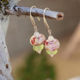 boucles d'oreilles fleur d'argent et verre filé