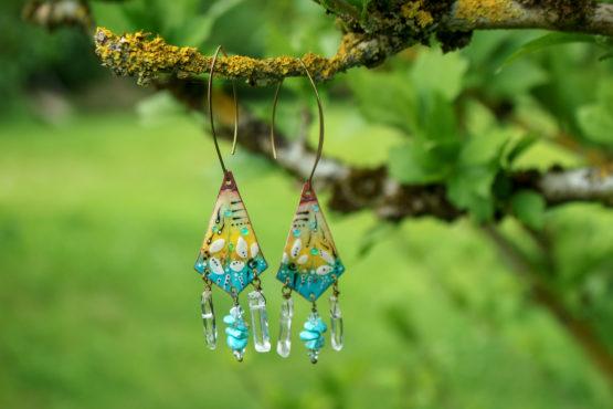 Boucles turquoises en émaux sur cuivre - Lagons fleuris