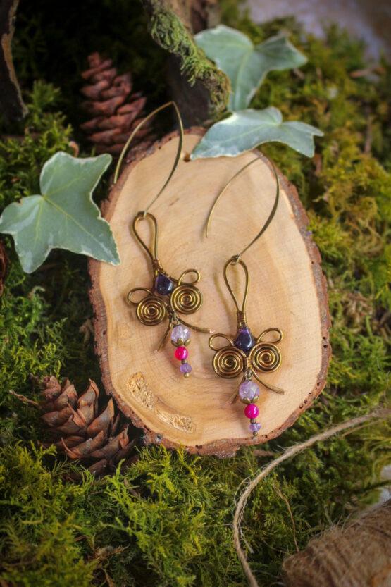 Boucles d'oreilles améthystes violettes