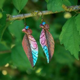 boucles feuilles en émaux sur cuivre